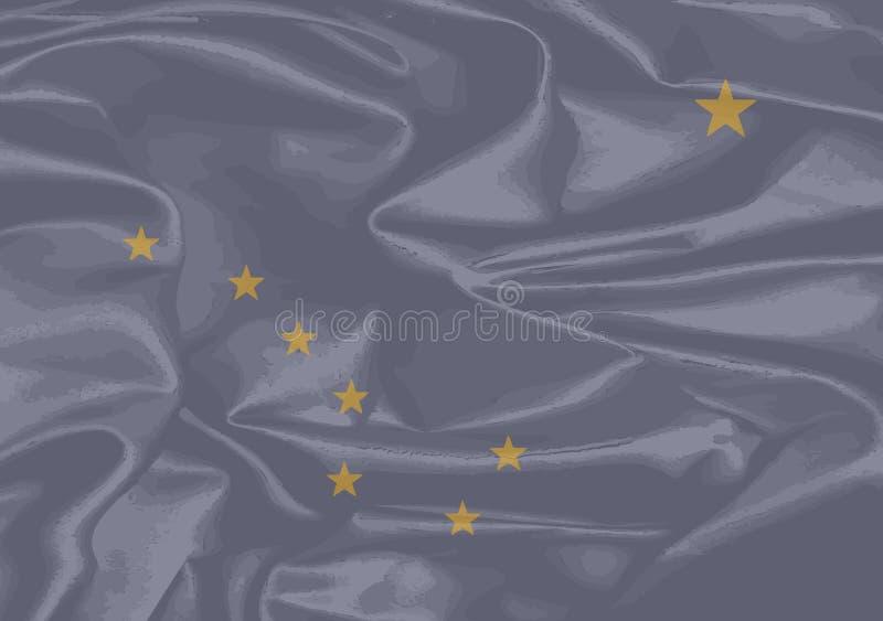 Siden- flagga av Alaska royaltyfri illustrationer