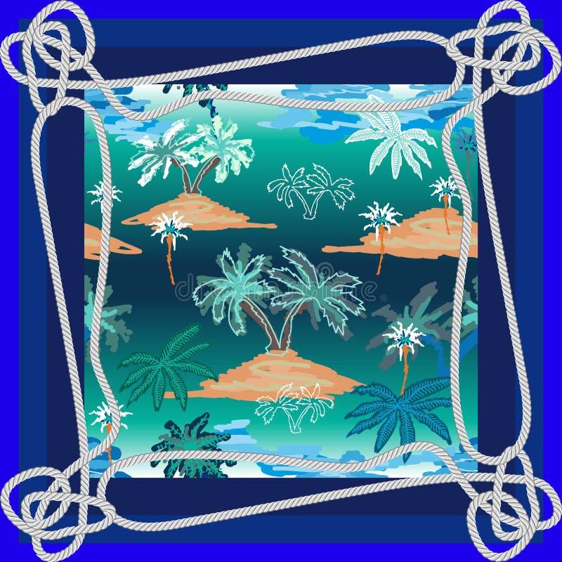 Siden- halsduk med rep, havet och fartyg royaltyfria foton