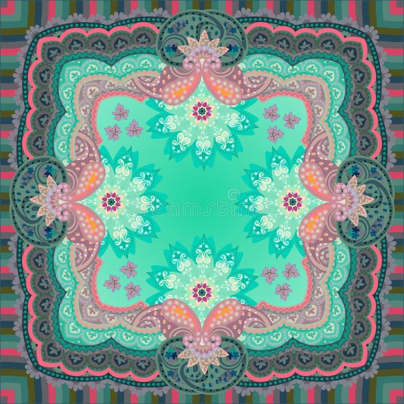 Siden- halsduk, servett, fyrkantigt filt eller örngott med den utsmyckade paisley prydnaden, randig ram och mandalas - blommor vektor illustrationer