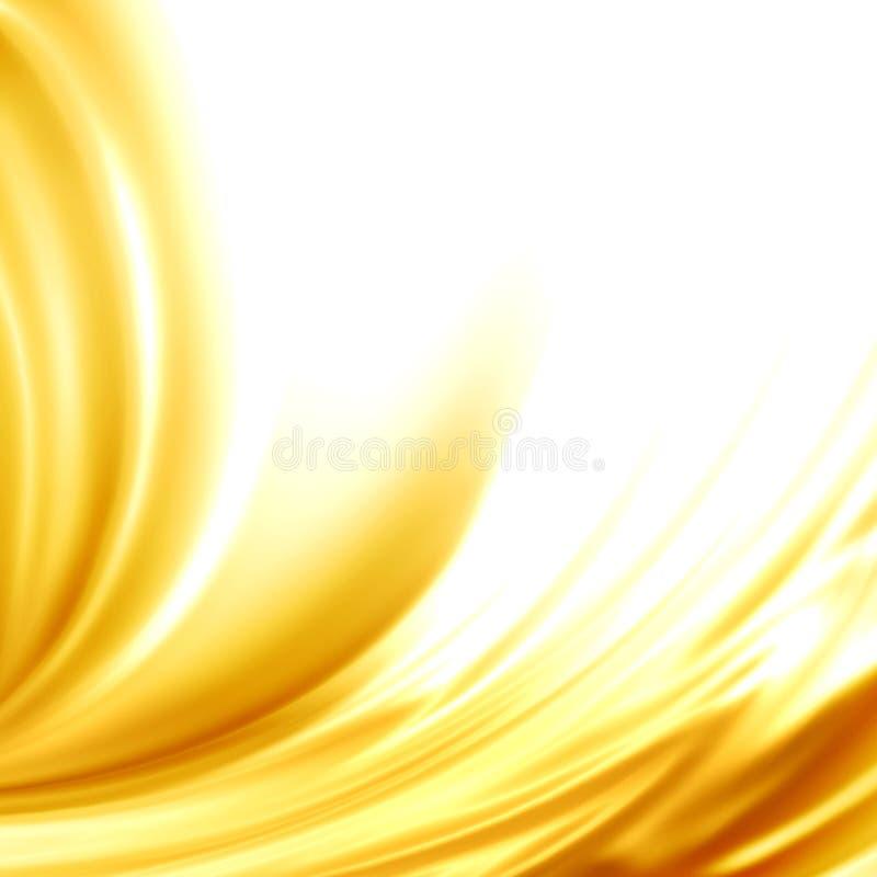 Siden- ram för abstrakt satäng för bakgrund guld- royaltyfri illustrationer