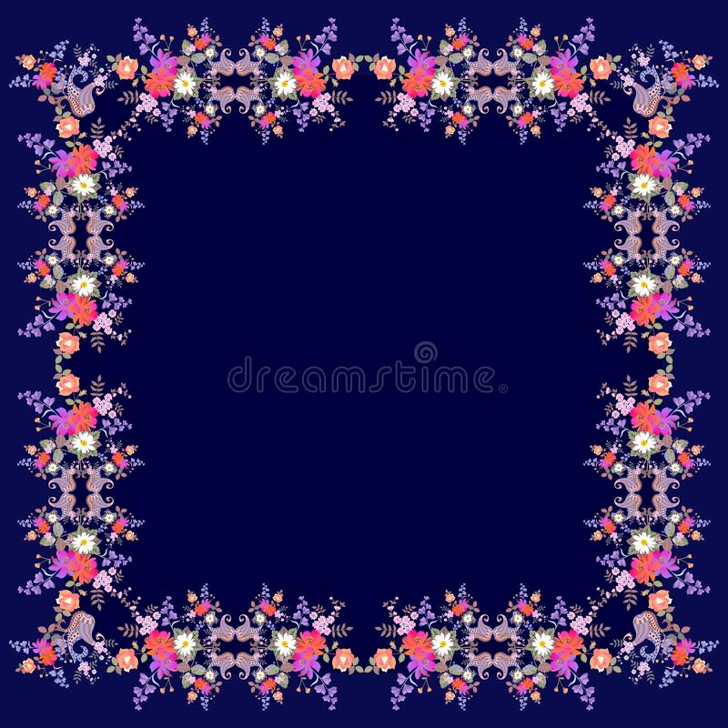 Siden- tappninghalsduk med den ljusa blom- prydnaden och paisley på mörkt - blå bakgrund vektor för inbjudan för korthälsningsill vektor illustrationer