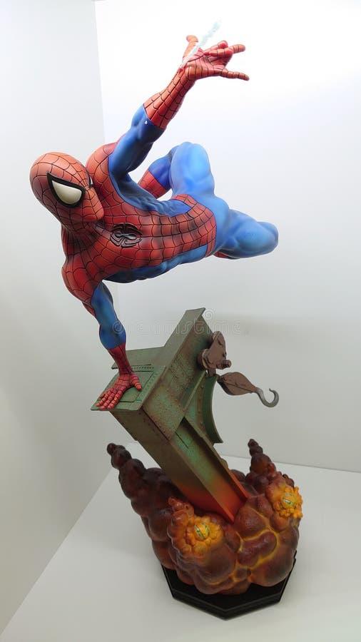 Sideshow Premium Format Exclusive 1/4 Spiderman the friendly neighborhood superhero shooting his web royalty free stock photo
