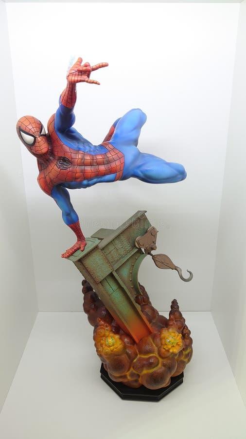 Sideshow Premium Format Exclusive 1/4 Spiderman the friendly neighborhood superhero shooting his web royalty free stock images