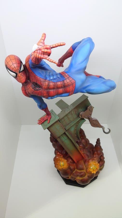 Sideshow Premium Format Exclusive 1/4 Spiderman the friendly neighborhood superhero shooting his web stock image