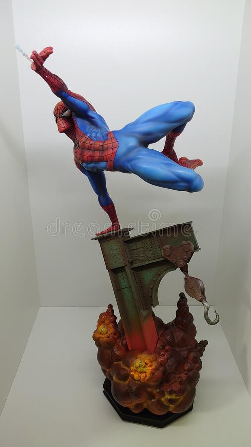 Sideshow Premium Format Exclusive 1/4 Spiderman the friendly neighborhood superhero shooting his web royalty free stock photos