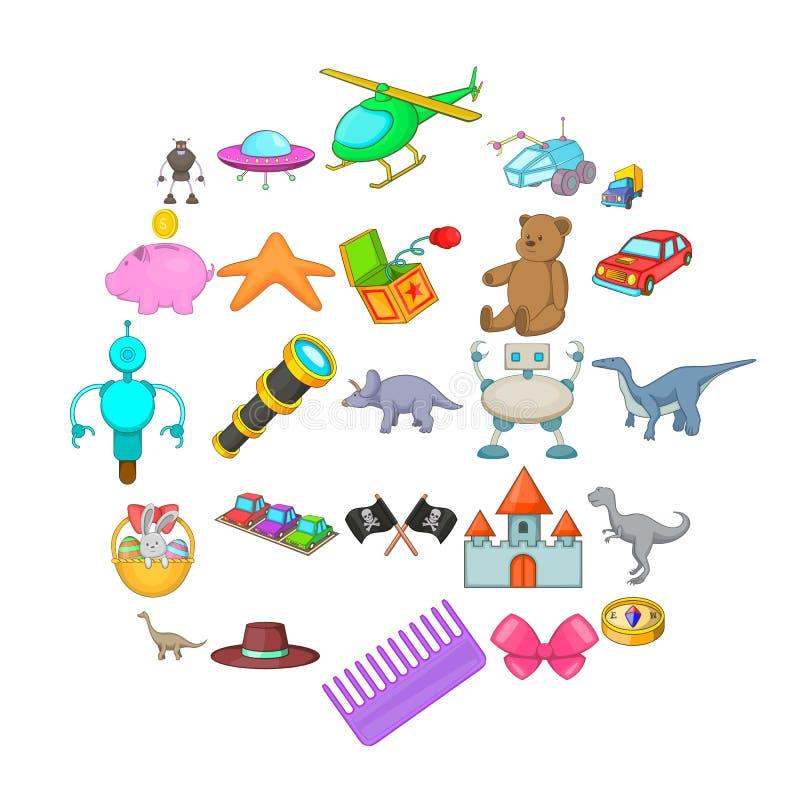 Sideshow toy icons set, cartoon style. Sideshow toy icons set. Cartoon set of 25 sideshow toy vector icons for web isolated on white background royalty free illustration