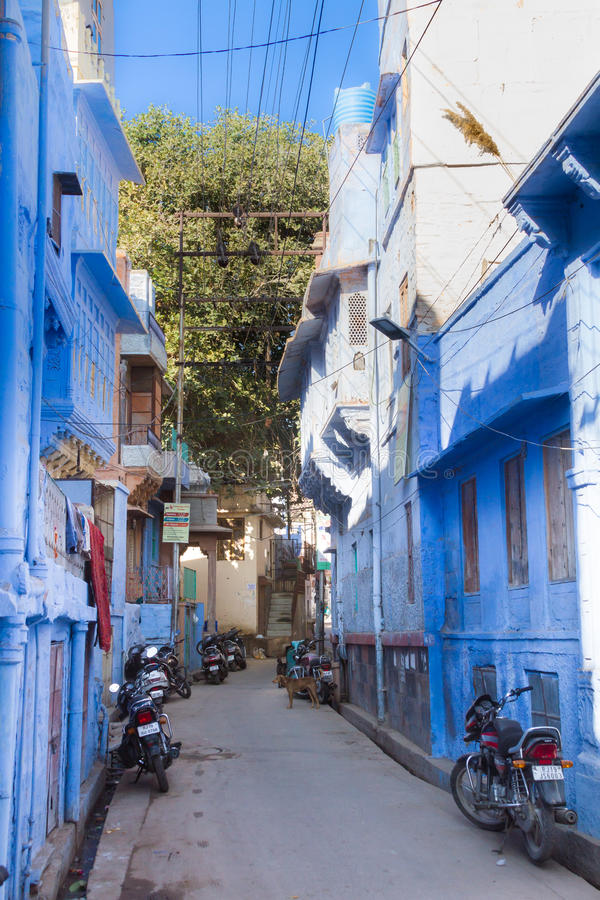 Sidestreet in the blue city. A sidestreet in the blue city of Jodhpur, India royalty free stock images