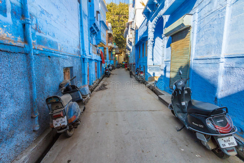 Sidestreet in the blue city. Jodhpur, India 16th January 2017 - A sidestreet in the blue city of Jodhpur, India royalty free stock photography