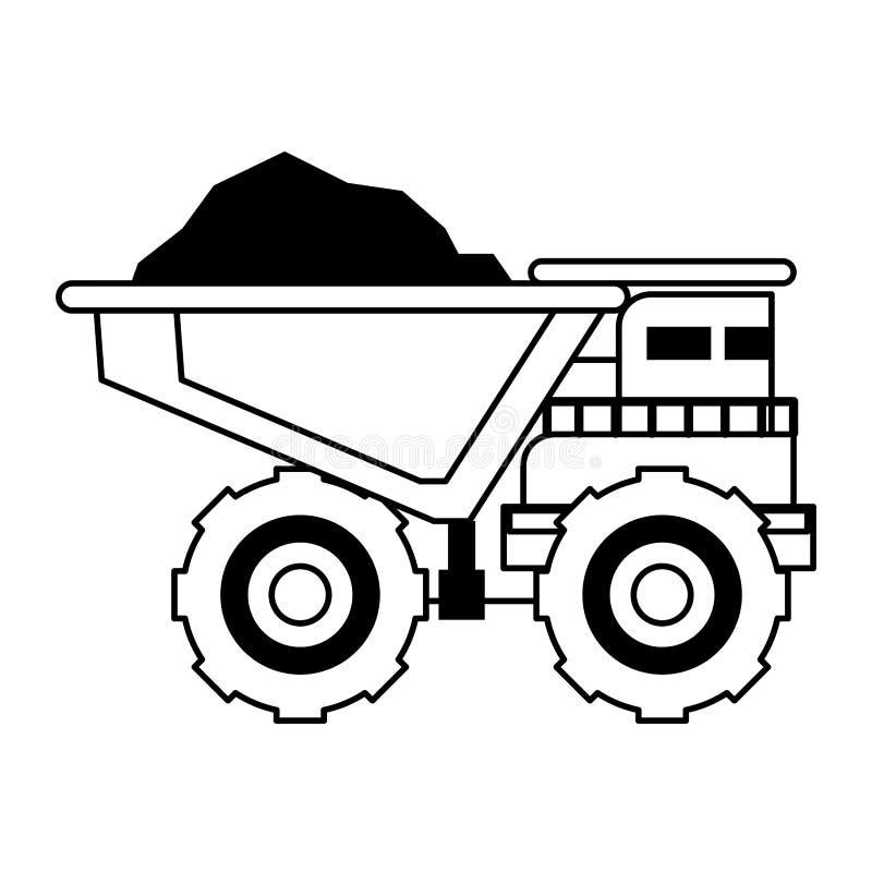 Sideview aislado maquinaria minero del vehículo en blanco y negro ilustración del vector