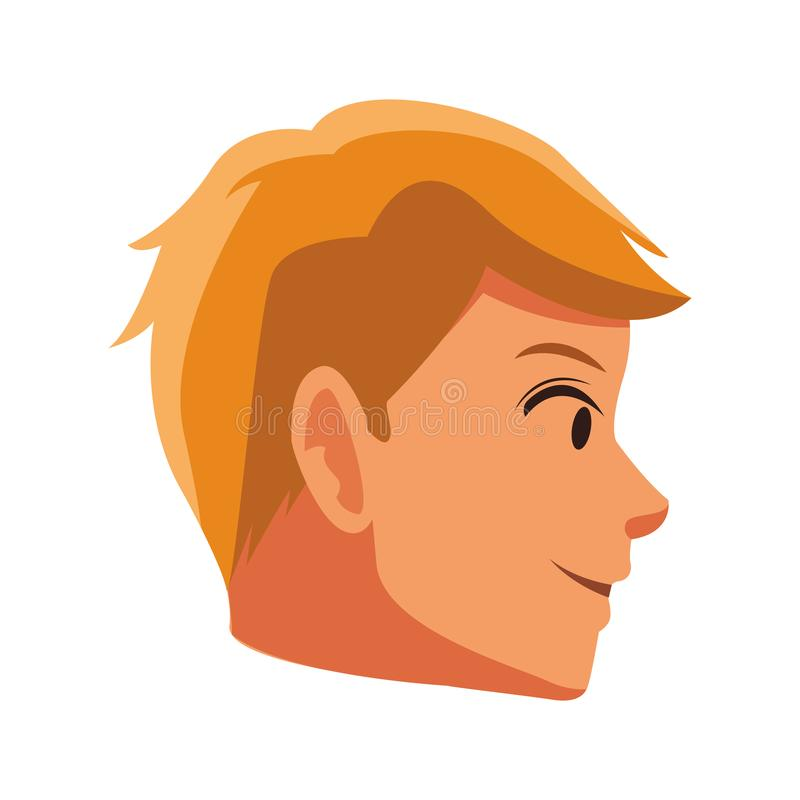 Sideview de la cara del hombre stock de ilustración