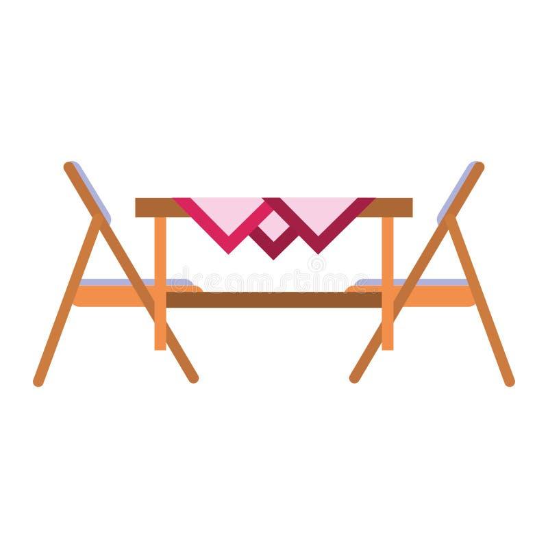 Sideview de madeira da cadeira isolado horizontalmente ilustração stock