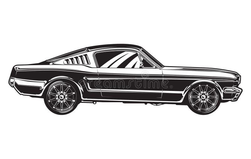 Sideview de un coche del músculo ilustración del vector
