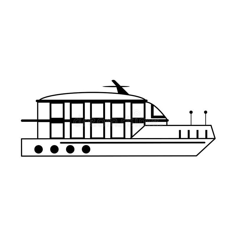 Sideview f?r fartyg f?r kryssningskepp som isoleras i svartvitt royaltyfri illustrationer