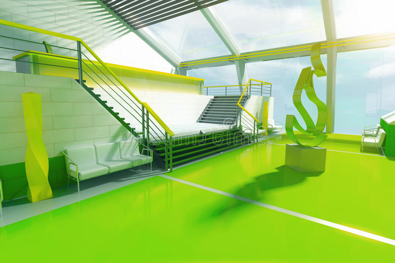 Sideview of futuristic gree interior with stairs, panoramic windows and abstract fire art piece in the middle. 3D Rendering royalty free illustration