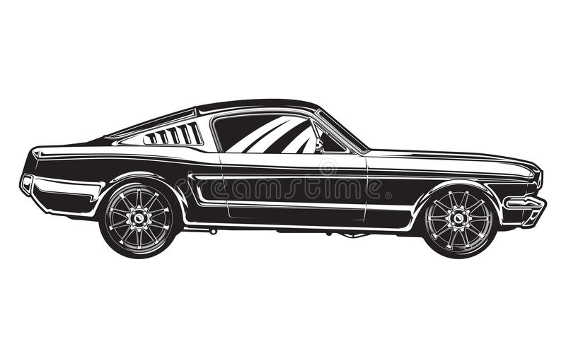 sideview of a muscle car stock vector illustration of fast 42506960. Black Bedroom Furniture Sets. Home Design Ideas