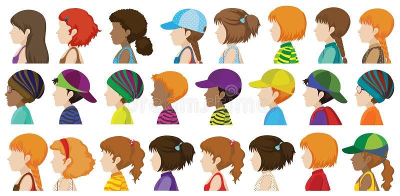 Sideview van de verschillende gezichten vector illustratie