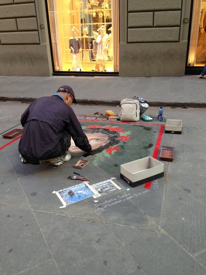 Sidewalk artist stock photo