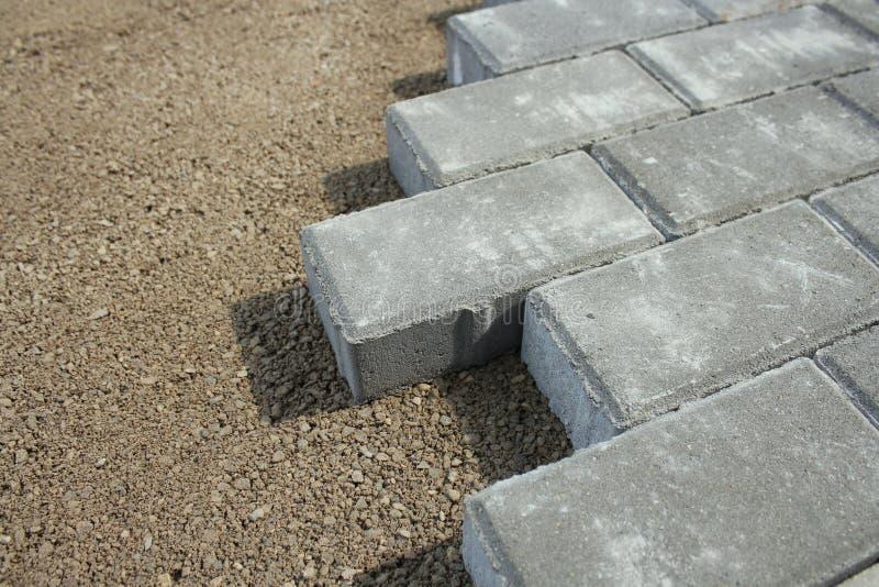 Sidewalk from bricks stock photo