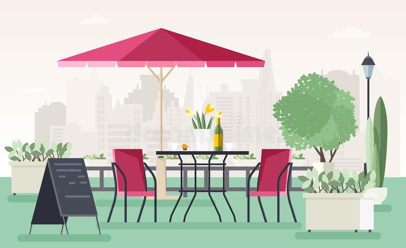 Sidewalk cafe or restaurant with table, chairs, umbrella, potted plants and welcome board standing on street against stock illustration