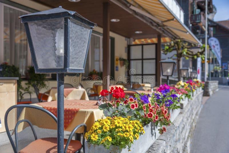 Sidewalk cafe terrace stock photo