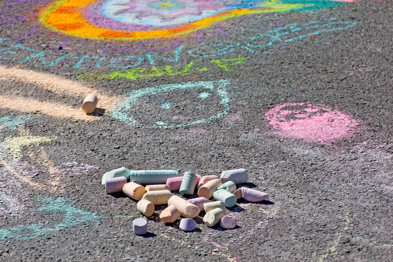 Download Sidewalk Chalk and Art stock image. Image of colorful - 24469315