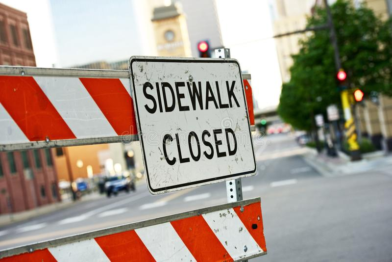 Sidewalk Closed royalty free stock photo