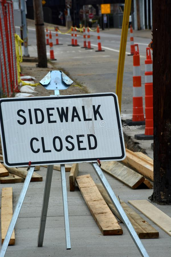 Sidewalk closed stock images