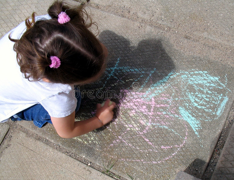 Sidewalk drawing stock images