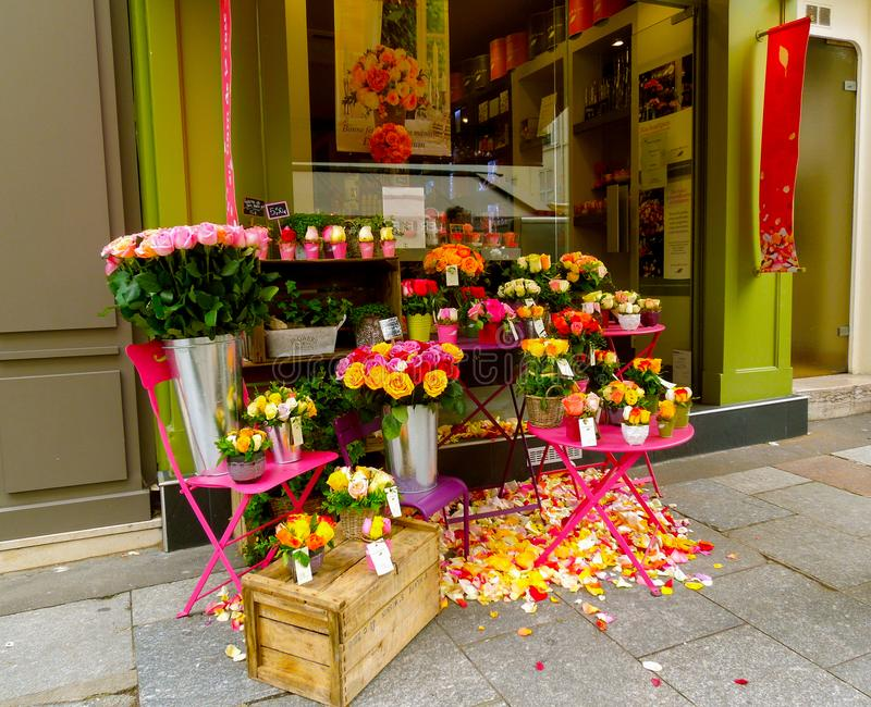 Sidewalk Floral Shop Display stock photo
