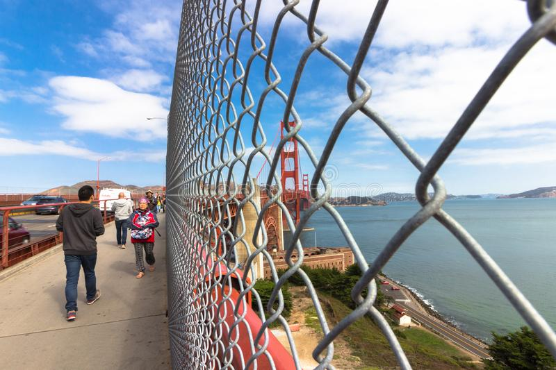 Sidewalk At The Golden Gate Bridge. Editorial Stock Photo - Image of ...