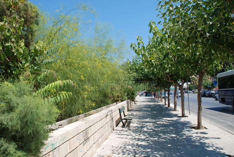 Sidewalk with green trees and street in the resort town of Heraklion, Crete stock photos