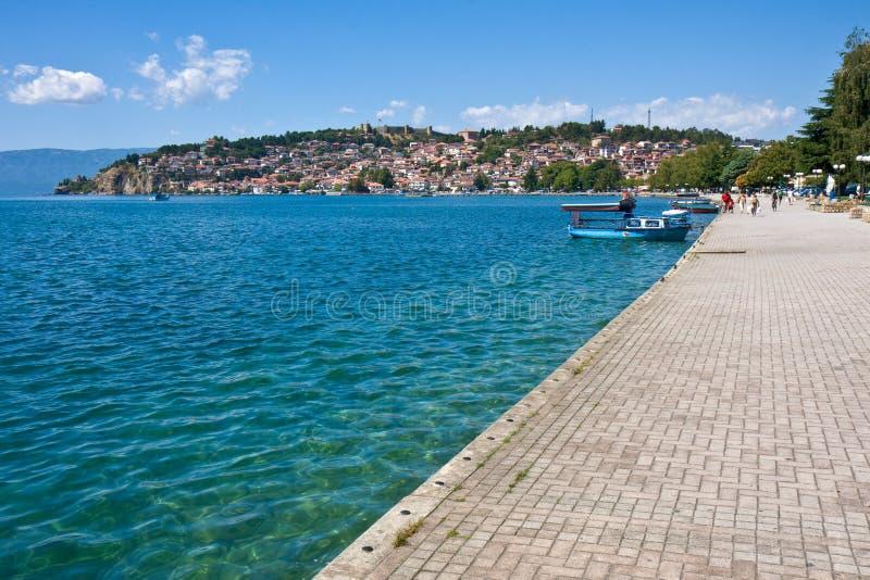 Sidewalk by Lake Ohrid royalty free stock images