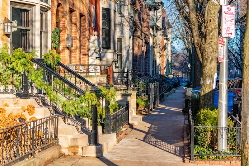 Sidewalk in Lincoln Park Chicago in the Afternoon during Winter royalty free stock image