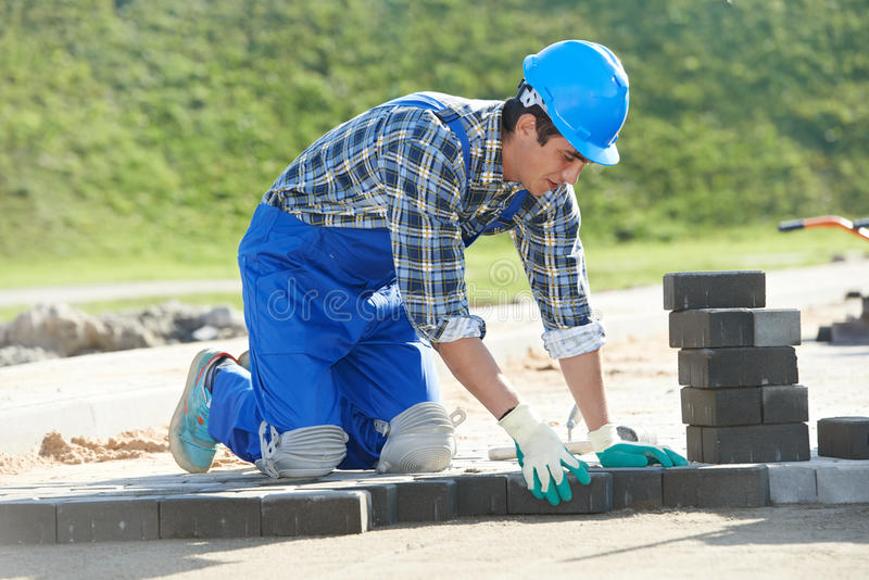 Sidewalk pavement construction works stock images