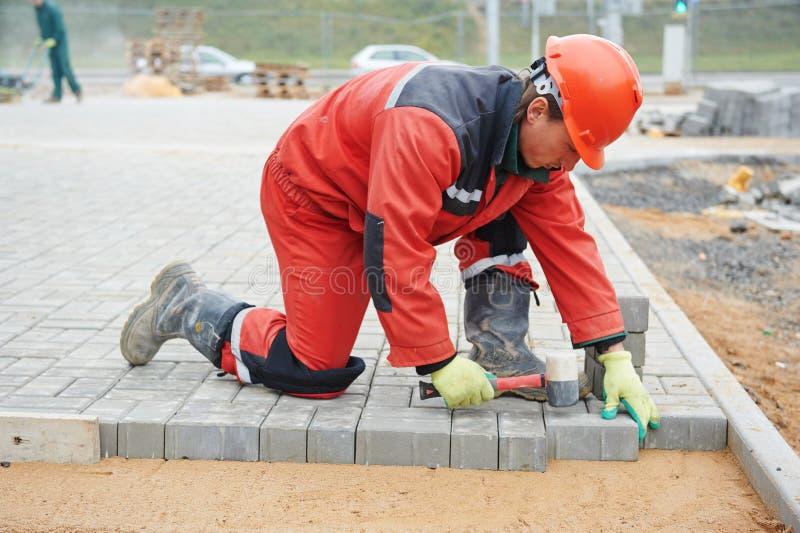 Sidewalk pavement construction works stock image