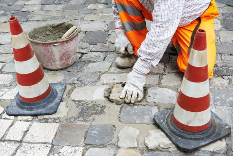 Sidewalk pavement construction works stock photography
