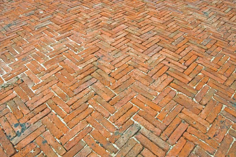 Sidewalk from red bricks royalty free stock photography