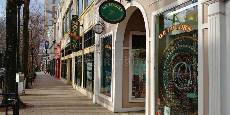 Sidewalk Shops along Main Street, Greenville SC. Shops along Main Street in Greenville SC South Carolina. No people walking along the sidewalk. Winter day stock image