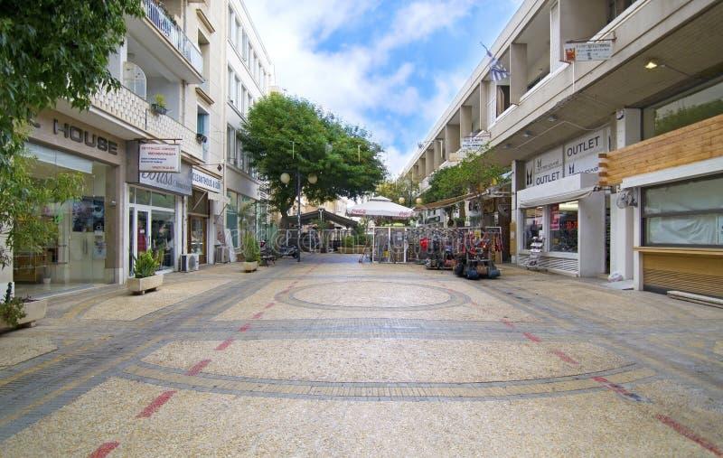 Sidewalk with shops at Ledras street Nicosia Cyprus stock photography