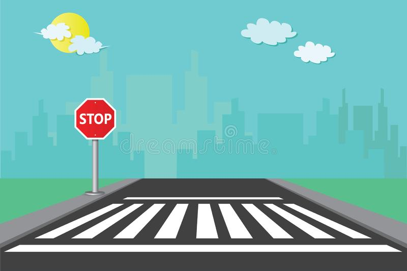 Pedestrian crossings with signposts stop with the city background vector Illustration. Sidewalks for pedestrian crossings with stop and zebracross symbols vector illustration