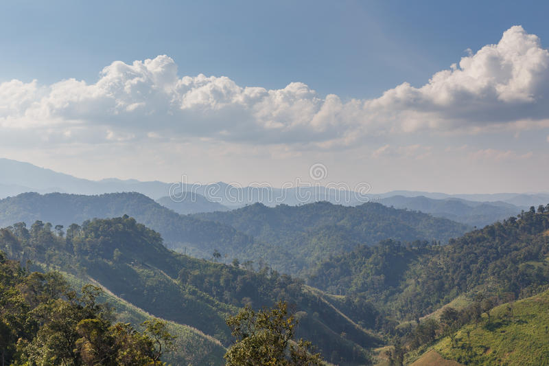 Sideway Landscape of The Road to Umphang. Mae Hong Son Province, Thailand.  stock photos