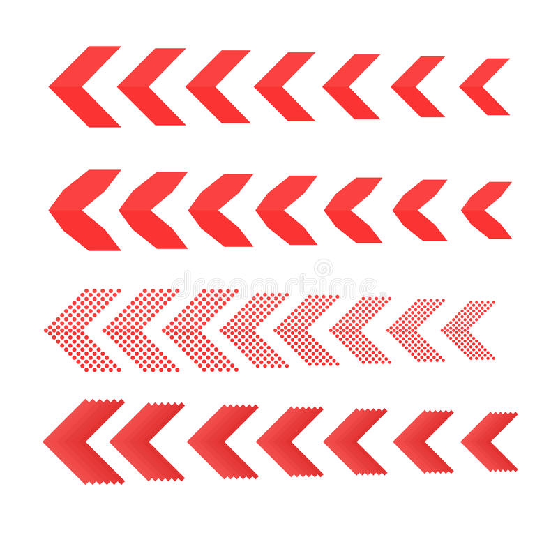 Sideways Set . Linear signs collection. Arrow Design .four elements for your design.Striped direction. stock illustration