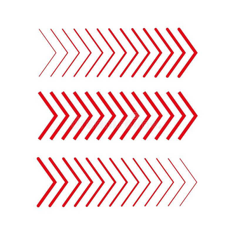 Sideways Set . Linear signs collection. Arrow Design .four elements for your design.Striped direction. vector illustration stock illustration