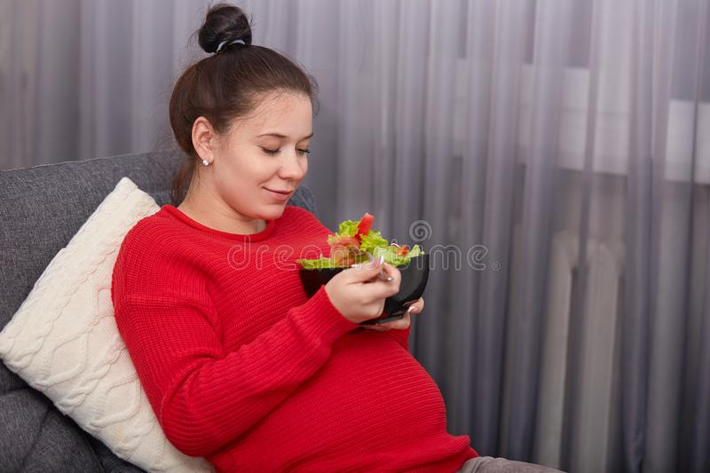 Sideways shot of pleased expectant mother eats fresh vegeterian salad, holds fork, has hair knot, dressed casually, sits at. Comfortable sofa near window stock images