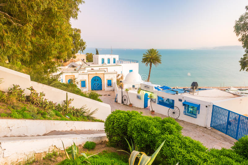 Sidi Bou Said, famouse village with traditional tunisian architecture. royalty free stock photography