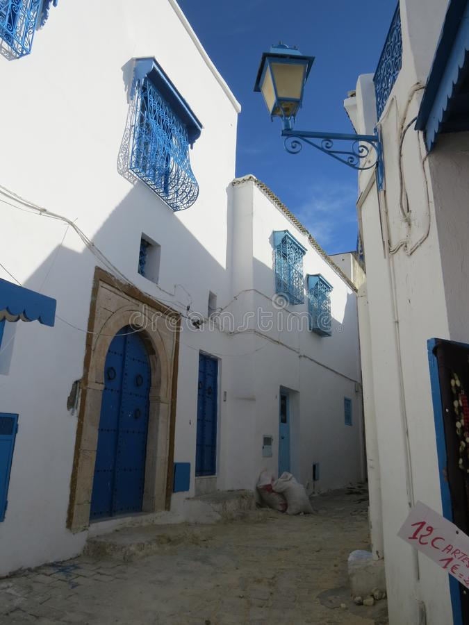 Sidi Bou Said, famouse village with traditional tunisian architecture royalty free stock photography