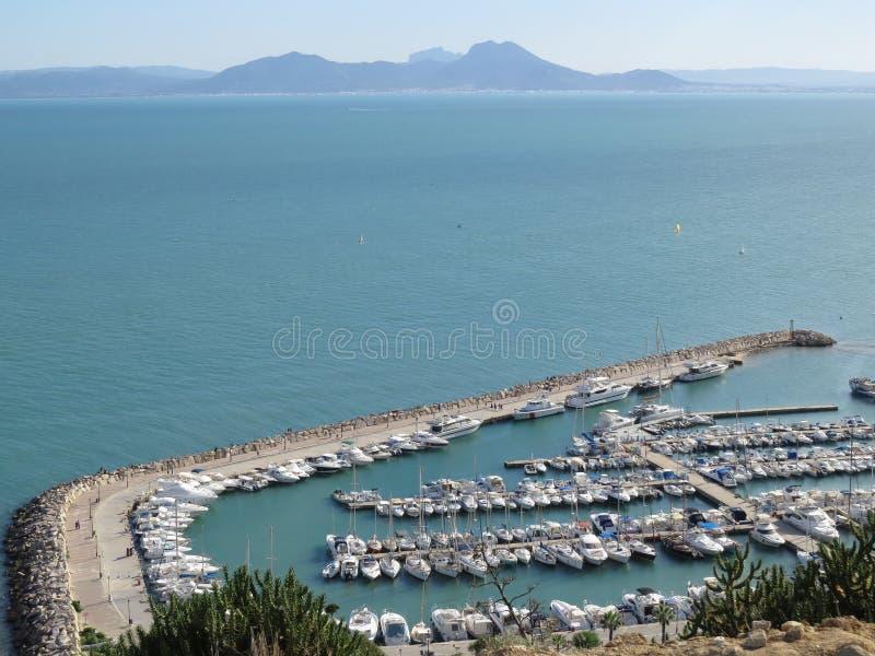 Sidi Bou Said, famouseby med traditionell tunisian arkitektur royaltyfri fotografi