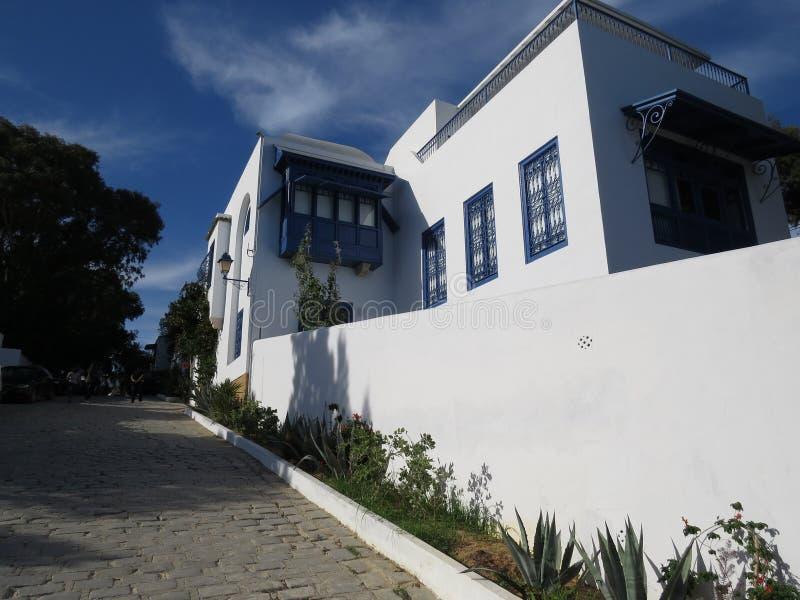 Sidi Bou Said, famouseby med traditionell tunisian arkitektur royaltyfri bild