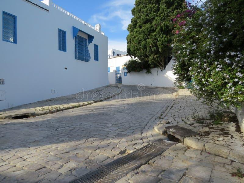 Sidi Bou Said, famouseby med traditionell tunisian arkitektur arkivbilder