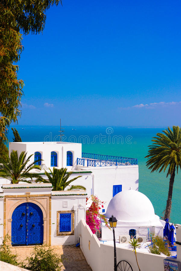 Download Sidi Bou Said, Mediterranean Sea, White Blue Arabian Building, Architecture Stock Photo - Image of black, building: 98049384